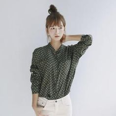 Mandarin-Collar Polka-Dot Shirt from #YesStyle <3 GOROKE YesStyle.com