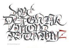 Brush Fraktur- John Stevens by JSD-calligraphy Tattoo Lettering Alphabet, Chicano Lettering, Graffiti Lettering Fonts, Graffiti Writing, Graffiti Alphabet, Lettering Design, Hand Lettering, Calligraphy Words, How To Write Calligraphy