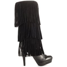 Mojo Moxy Women's Lola - Black ($172) ❤ liked on Polyvore featuring shoes, boots, black, mid-calf boots, mid calf fringe boots, black fringe boots, suede mid calf boots and suede high heel boots