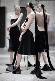 Tanya Dziahileva wearing Rick Owens by Hans Feurer for i-D April 2009