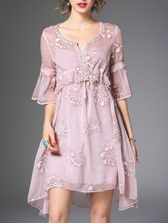 Shop Midi Dresses - Pink Embroidered Sweet Two Piece Midi Dress online. Discover…