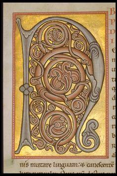 Réseau des Bibliothèques de l'Université de Liège; Evangéliaire d'Averbode (ms. 363, f° 1v)  région mosane, XIIe s.