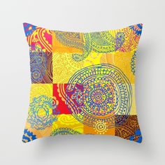 Boho Patchwork Pattern Throw Pillow