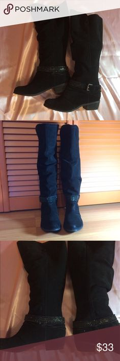 """Black Suede Boots Black suede boots with a round toe and 1.75"""" heel. Shaft measures 15.5"""" and circumference 16"""". Only worn twice. They don't have the tassels like some of the pictures, just the bling boot strap. naughty monkey Shoes Heeled Boots"""