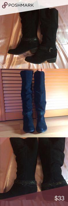 Selling this Black suede boots on Poshmark! My username is: tamarc6. #shopmycloset #poshmark #fashion #shopping #style #forsale #naughty monkey #Shoes