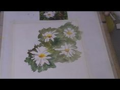 Easy watercolor video to follow of painting daisies.