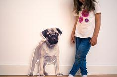 Mops Cutout - Wandbild Hund / Welpe aus Holz / MDF - FrlGelb - Ozdoby na ścianę