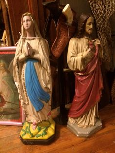 Vintage 1940's Religious Chalkware Statues Of Virgin Mary & Jesus, Approx 2 Feet Tall, Great Condition by PaintedLadyAntiques on Etsy