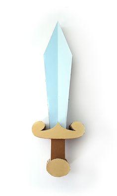 Cardboard Sword, Cardboard Castle, Drama For Kids, Art For Kids, Crafts For Kids, Sword Craft, Bible Museum, Medieval Party, My Little Monster