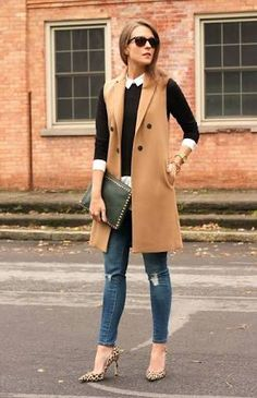 b62089a7a5 Casual outfit with trendy leopard heel shoes, blue jeans, beige long  blazer, black sweater and white office shirt.