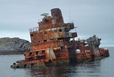 "Abandoned Soviet Cruiser ""Murmansk"" after running aground off the coast of Norway. - Imgur"