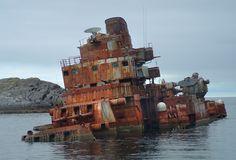 "Abandoned Soviet Cruiser ""Murmansk"" after running aground off the coast of Norway. - Imgur"