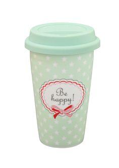 "Krasilnikoff Coffee to go Becher ""Be happy"" mintgrün Sterne Mug"