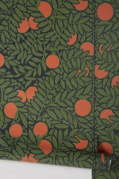 Orange Grove Wallpaper by Mitchell Black in Orange, Wall Decor at Anthropologie Stick On Wallpaper, Wallpaper For Sale, Office Wallpaper, Orange Wallpaper, Orange Accent Walls, Orange Grove, Peel And Stick Vinyl, Orange Aesthetic, Green And Orange