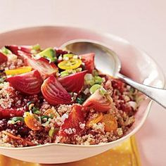 This hearty grain salad featuring blood orange sections, beets, kumquats and avocado is brimming with rich colors, textures, and nutrients from the vitamin- and protein-packed ingredients.