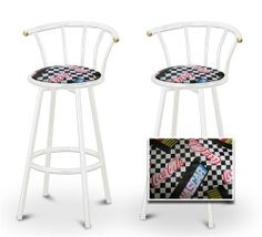 """2 Nascar Coca Cola Themed Specialty / Custom White Barstools with Backrest Set by The Furniture Cove. $145.87. White Metal Finish. Set of 2 Bar Stools. These are new, 24"""" White bar stools with footrests and swivel seats with a backrest! These Feature Nascar Coca Cola Themed fabric seats that are cool and unique. The pads are 14"""" across and the seat is 24"""" tall. The entire height is 35"""". The sides of the seat have nice metal work and there are feet protectors on the b..."""