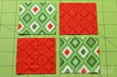 Tutorial: Como hacer un perfecto bloque del edredón de cuatro parche. Al poner un bloque de c...