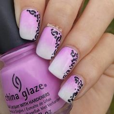 Pink to white gradient nails with some kind of animal print for the #freehandchallenge  I used:  China Glaze - In A Lily Bit  Barry M - Cotton