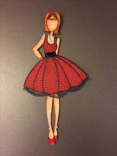 Julie Nutting Prima Doll - Marisol/Audrey Altered Love the red dress with black spots (TH) Prima Paper Dolls, Prima Doll Stamps, Origami Vestidos, Paper Clothes, Butterfly Template, Dress Up Dolls, Alcohol Ink Art, Dollar Store Crafts, Doll Maker