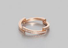 Bague PURE ligne 13 diamants 0,10ct Or rose 3,80gr.     O Fée revisite l'anneau en or en proposant un modèle au design contemporain, géométrique et brut. Origin