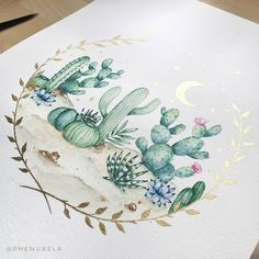 (@phenuxela) cactus watercolor painting <3 Watercolor Cactus, Watercolor Paintings, White Ink, My Drawings, Detail, Pattern, Inspiration, Instagram, Biblical Inspiration