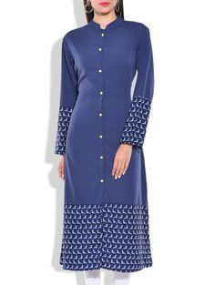 Blue & White Poly Crepe Kurta - Online Shopping for kurtas