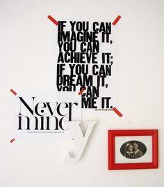 attach black and white art w/ red tape..LOVE it!l