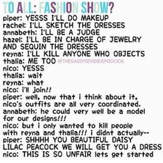 Go nico^^^where's Percy in this? He could totally rock a dress