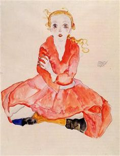 Seated Girl Facing Front - Egon Schiele Egon Schiele 🍁♦️🔹More Pins Like This At FOSTERGINGER @ Pinterest🔹♦️🍁