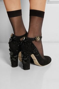 Dolce & Gabbana|Embellished suede pumps|NET-A-PORTER.COM