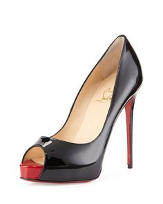 Christian Louboutin New Very Prive Patent Red Sole Pump, Black/Red, Size: 35B/5B