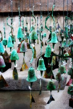 Verdigris bronze bells from Cosanti in Scottsdale
