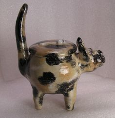 CALiCO-CAT-FOLK-POT-Animal-Face-Jug-Spice-Jar-Effigy-Herb-Caddy