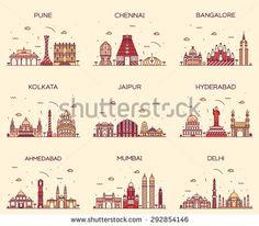 Set of Indian cities skylines. Mumbai, Delhi, Jaipur, Kolkata, Hyderabad, Ahmedabad, Pune, Chennai, Bangalore. Trendy vector illustration, linear style.