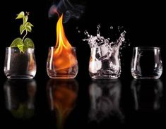 The four elements in a glass