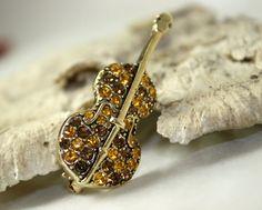 Vintage Violin Sparkle Brown Gold Brooch Pin