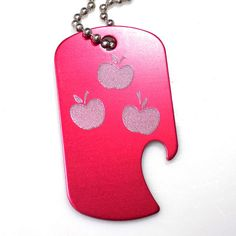 "MLP Applejack New Red Key Chain With 4"" Chain Dog Tag Aluminum Bottle Opener EDG-0243"