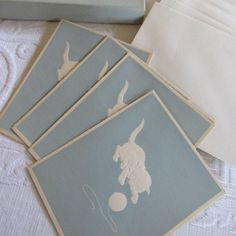 Exquisite Vintage Embossed Blue and White Boxed Set of 12 Note Cards French…