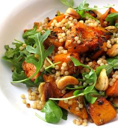 Warm cous cous and roasted butternut squash with fennel, rosemary and chili ~used c dry couscous, no butter, and broth for 378 cals per serv Vegetarian Recipes, Cooking Recipes, Healthy Recipes, Food For Thought, Plats Healthy, Roasted Butternut Squash, Roasted Vegetables, Veggies, Summer Salads