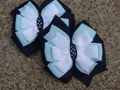 2 School hair bows uniform Hair Bow Navy Hair by MyLuckyHairBow