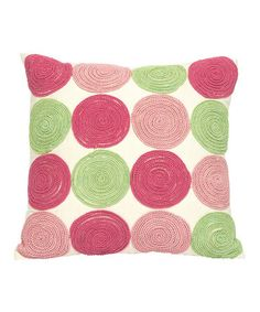Loving this Pink & Green Circle Pillow on #zulily! #zulilyfinds