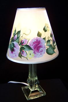 Lamp with Shade Hand Painted with Pink Roses and by BonnysBoutique, $19.50