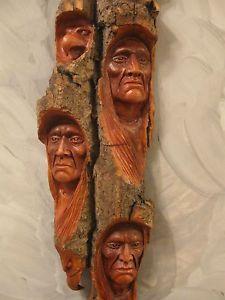 Native American Indian Wood Carvings | Multiple Wood Carving Wood Spirit Native American Indian Spirits ...