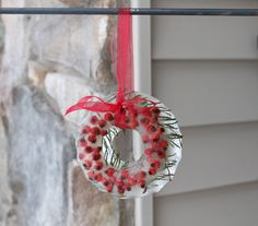 Ice wreath with berries and evergreen branches
