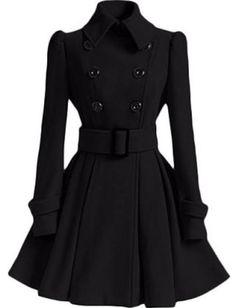 black wool peplum coat