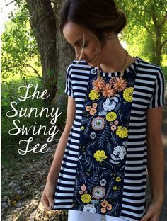Sunny Swing Tee with Free Pattern by The Sara Project. The middle panel would look great with a Liberty print.