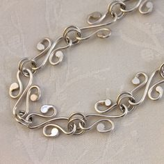 Hammered Sterling Silver Necklace, Art Nouveau Inspired, Choker, Pendant