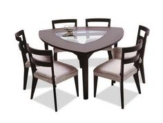 Modern Dinette Set With Triangle Dark Chocolate Finish Top - Triangle dining table set