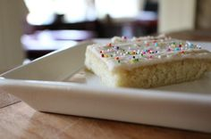 White Texas Sheet Cake - holy smokes this is good! It's like a giant sugar cookie :)
