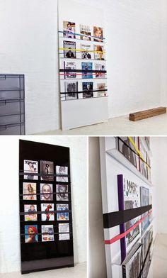Tu Organizas.: Organize a casa com elástico Para organizar revistas ou expor imagens e fotos.
